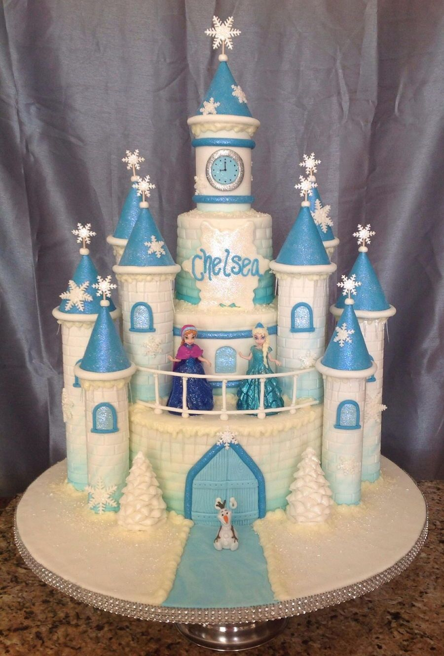 Astonishing Frozen Castle Cake With Images Frozen Birthday Party Cake Funny Birthday Cards Online Overcheapnameinfo