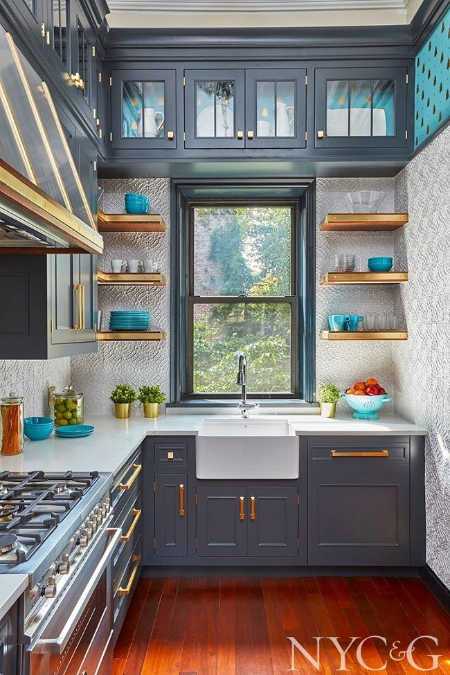 Favorite room of the week! is part of Mix And Chic Favorite Room Of The Week - This kitchen designed by Gary Ciuffo for the Brooklyn Heights Designer Showhouse looks absolutely amazing! The blueish gray cabinetry feels