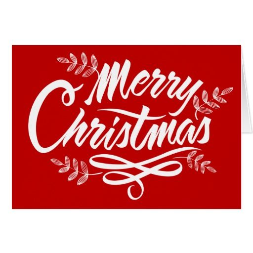 Red Merry Christmas Typography Holiday Folded Greeting Card  Add