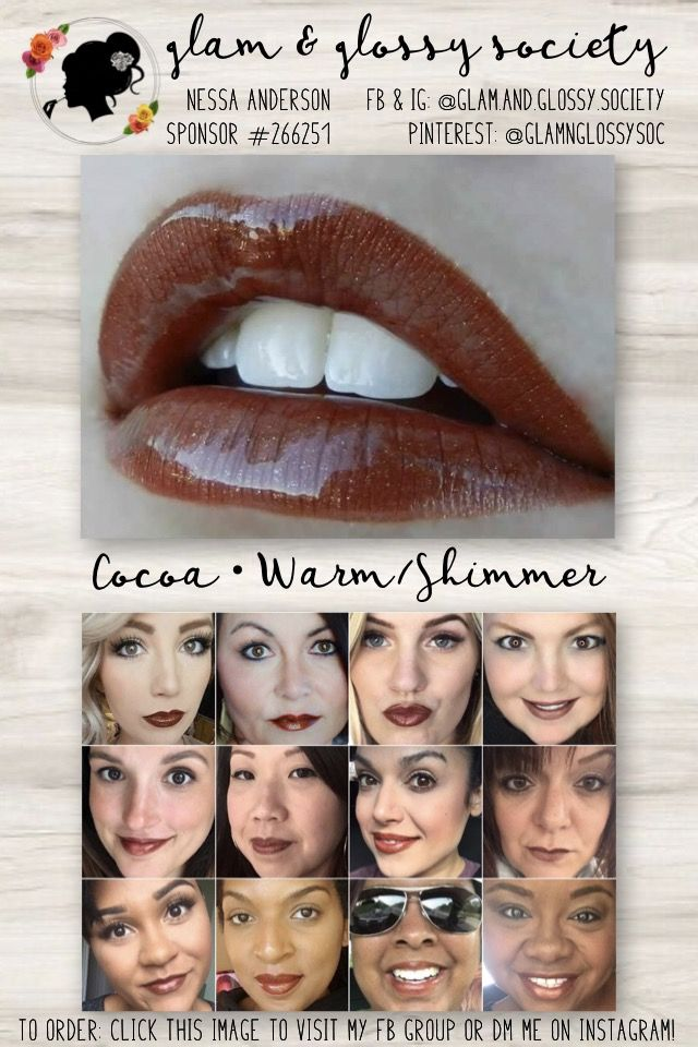 Cocoa LipSense, Warm/Yellow Base, Shimmer Finish To Order: Click this image to visit Glam & Glossy Society's FB Client Group or DM me on Instagram @Glam.and.Glossy.Society  Keywords: Lips, beauty, makeup, fashion, 2017, matte, gloss, lip color, lip stick