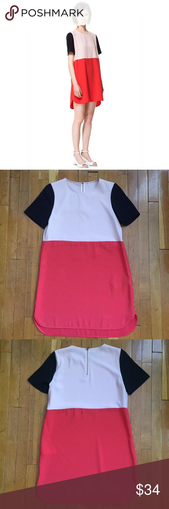 Zara colorblock mini dress zara dresses mini dresses and color