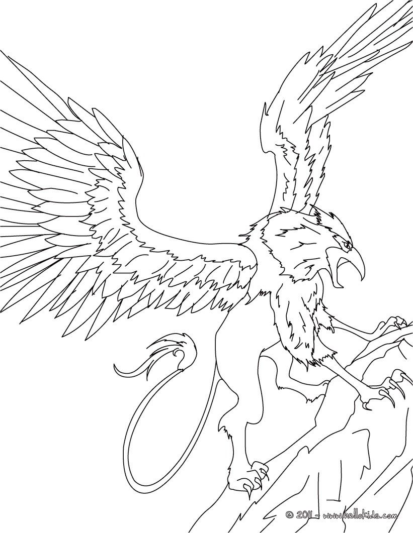 Greek Fabulous Creatures And Monsters Coloring Pages Griffin The Majestic And Powerful Creature Monster Coloring Pages Coloring Pages Free Coloring Pages