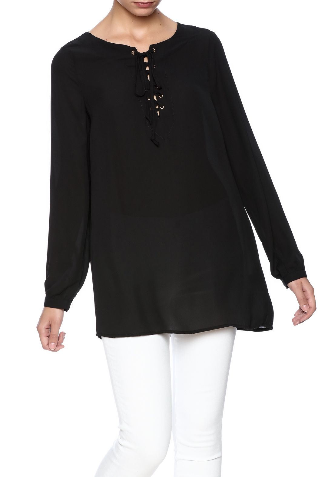 3049dde43e5 Lace Up Blouse by Staccato. Clothing - Tops - Long Sleeve Clothing - Tops -  Blouses   Shirts New Jersey
