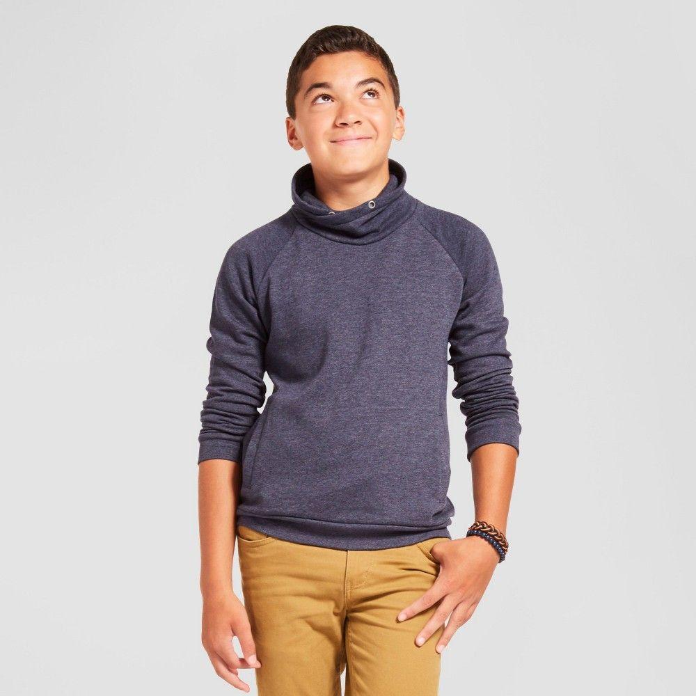 Boys' Cowl Neck Fleece Sweatshirt - Navy XL, Boy's, Blue