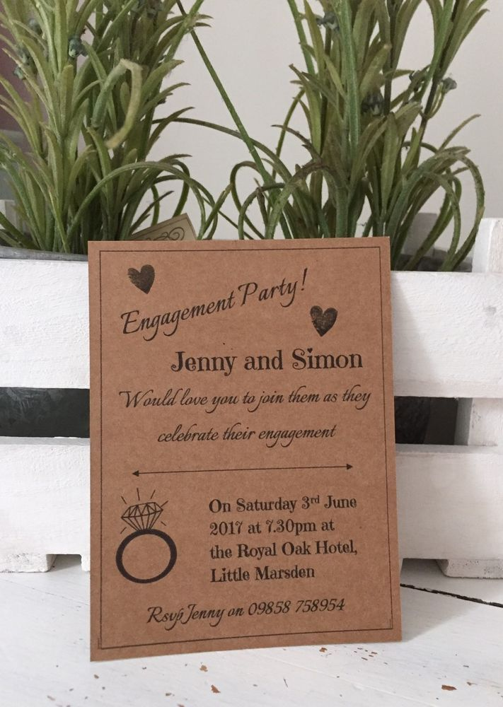 10 Handmade And Personalised Kraft Engagement Party Invitations