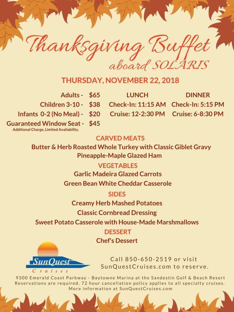 Thanksgiving Buffet Cruises In Destin Fl Thanksgiving Lunch Thanksgiving Lunch