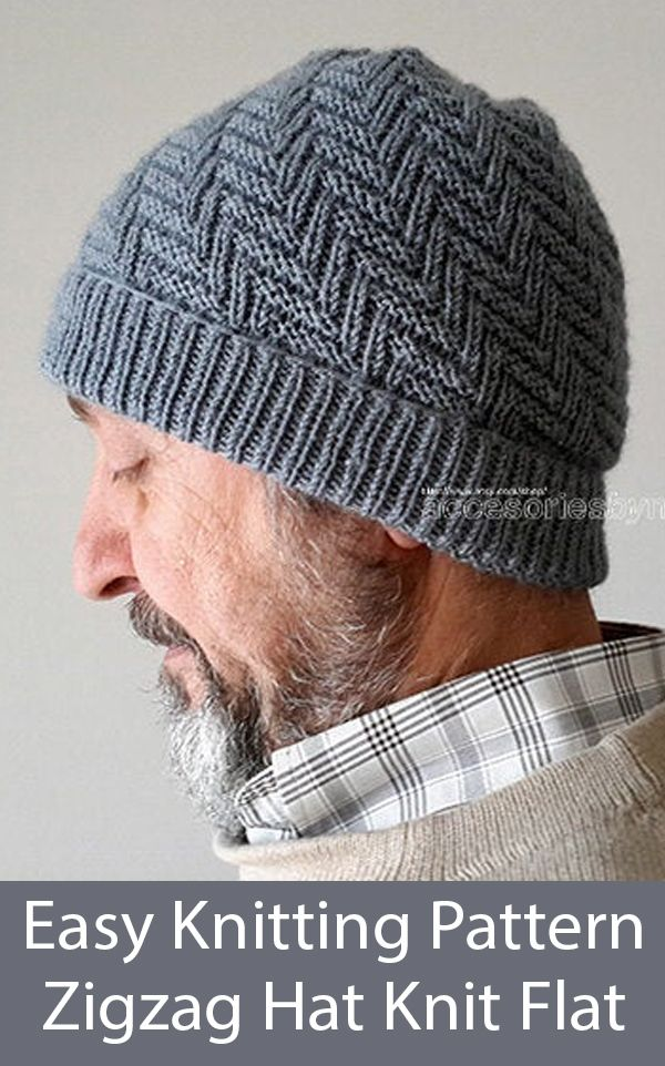Knitting Pattern for Zigzag Beanie Hat Knit Flat