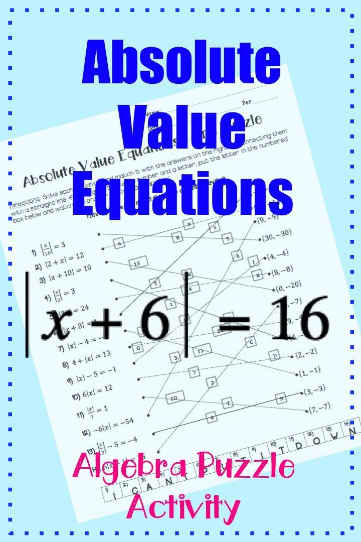 Absolute Value Equations: Line Puzzle Activity | Algebra | Pinterest