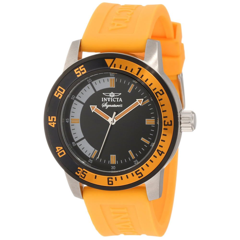 Invicta 7466 Mens Signature II Black Dial Orange Rubber Strap Watch,