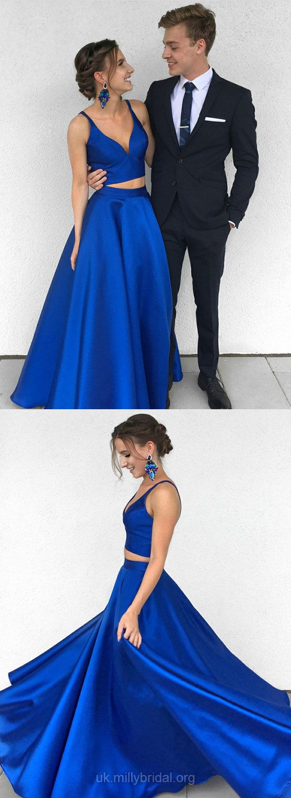 Two piece formal dresses long royal blue prom dresses modest