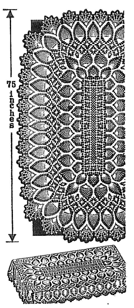 Oblong Pineapple Tablecloth Crochet pattern 505 Three sizes 52\