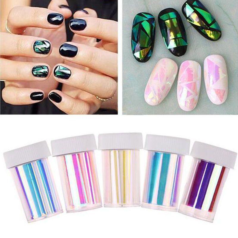 5 Colors Newest Broken Glass Foils Finger DIY Nail Art Stencil Decal ...