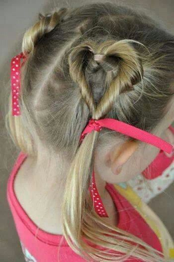 Girls heart hairstyle for V-Day