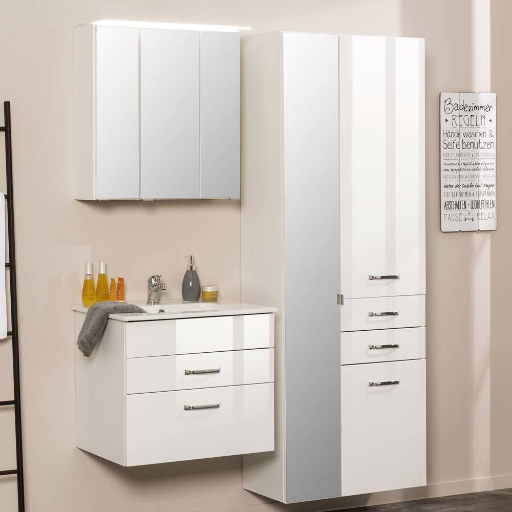 Badezimmermöbel Set in Weiß Hochglanz 3D Spiegelschrank (3-teilig ...