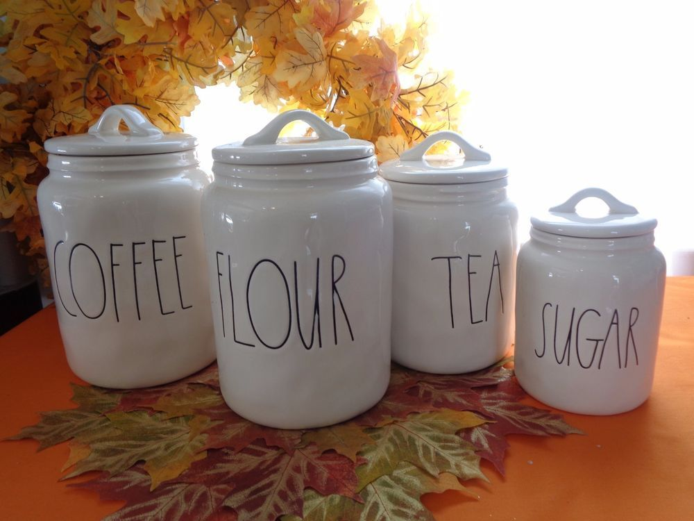 Rae Dunn Coffee Tea Flour Sugar Storage Canisters Jars Set New 8pc Set