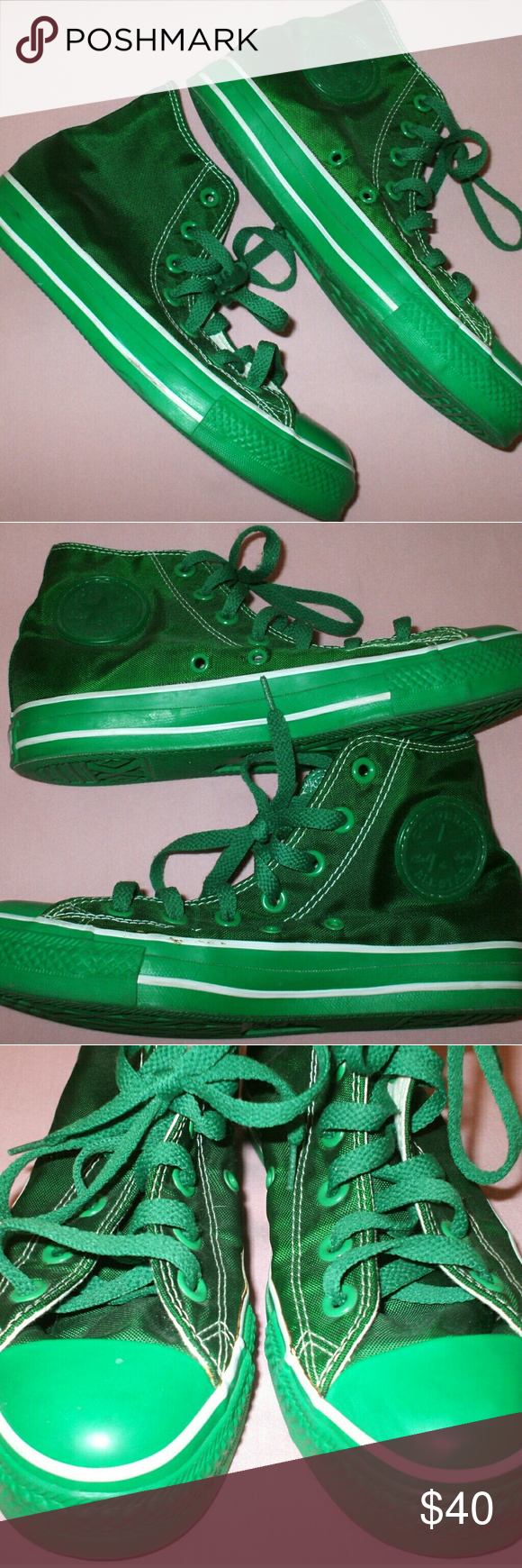 47e71b5a8b574 Green Shiny Converse High Top Shoes I wore these shoes once. They are in  green condition. The fabric is shiny green. Really unique pair of Converse!!