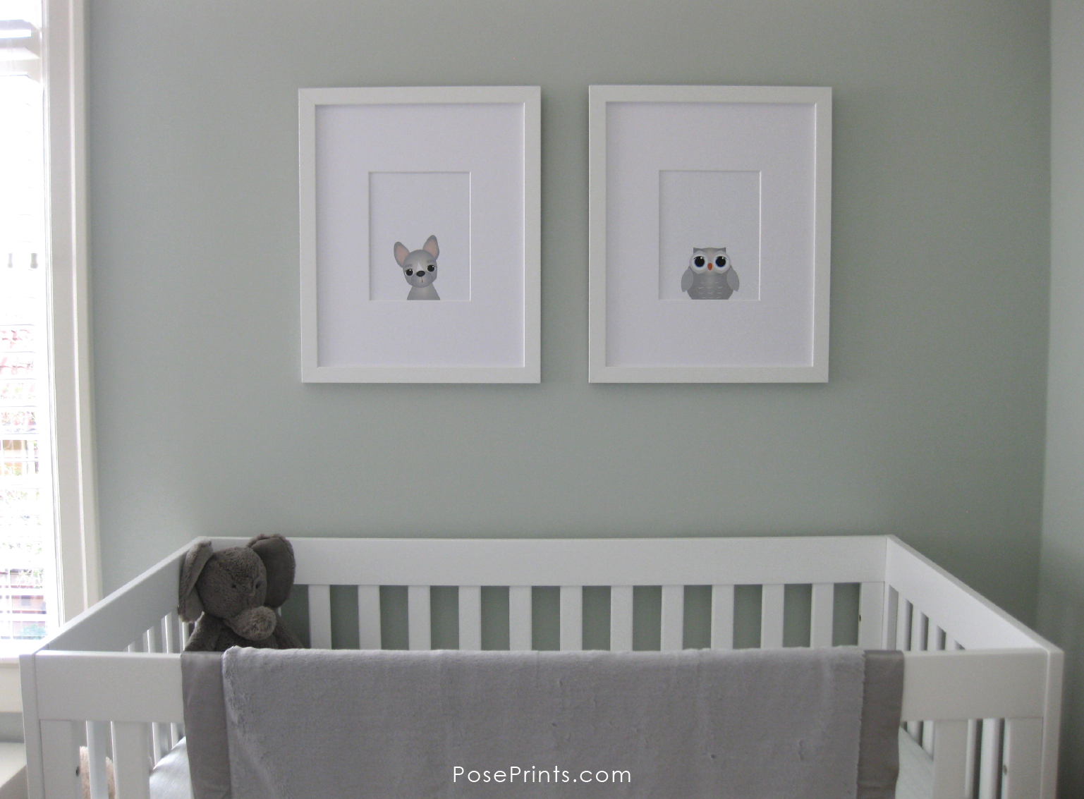 PosePrints Nursery Wall Art: French Bulldog and Owl in white frames.