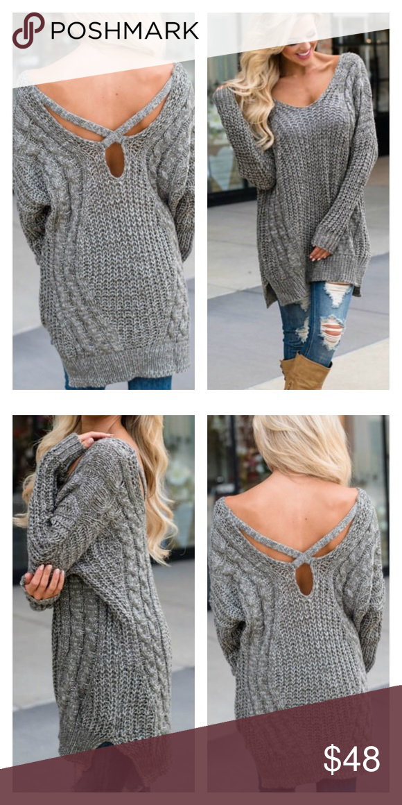 f1fe4159099ac9 Grey Cable Knit Sweater With Crisscross Back Material- 50% Acrylic, 50%  Polyestetr This item is not lined, bust is not padded, fits true to size.