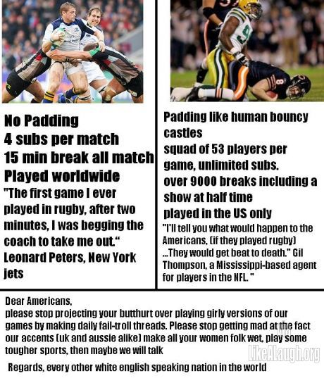 Rugby Vs American Football Rugby Memes Rugby Vs American Football Rugby