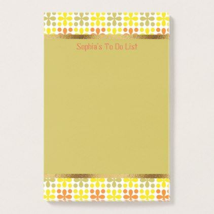 Cute Personalized Retro Yellow Orange Green White Post-it Notes - sample notes