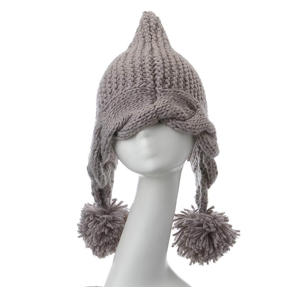ZLYC Women Girl Fashion Braid Winter Warm Knit Ball Yarn Long Tassels Beanie Hat Gray