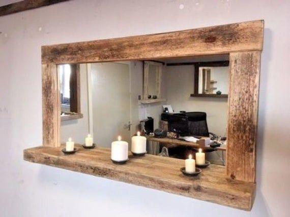 "Photo of Iona "" driftwood farmhouse mirror with shelf"