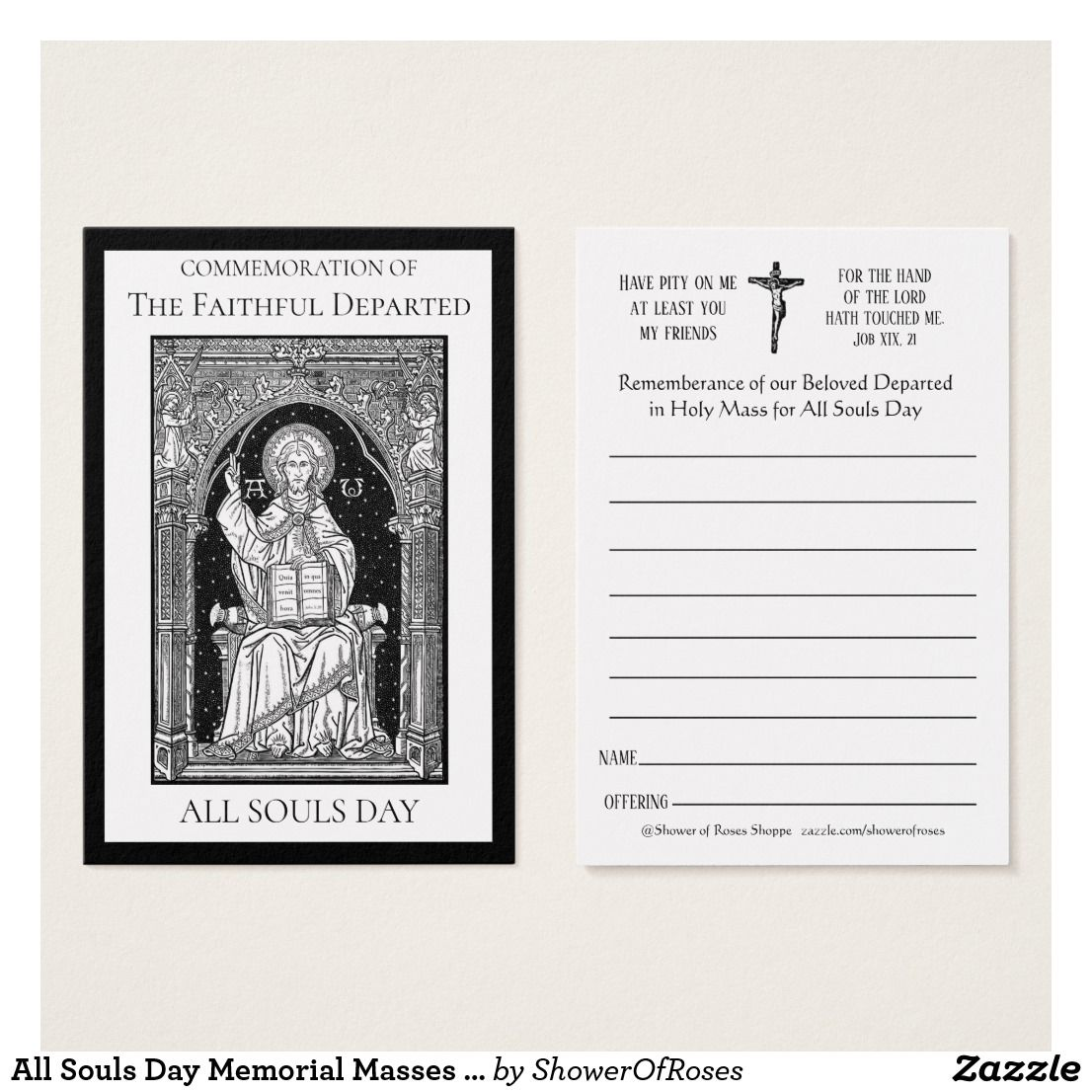 All Souls Day Memorial Masses Deceased Holy Card Zazzle Com