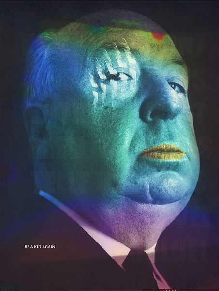 Alfred Hitchcock Psychedelic Colors Iconic Photos Pop Art