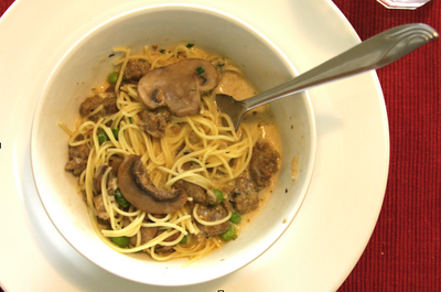 Angel Hair With Cream Sausage And Mushroom Sauce It Sounds