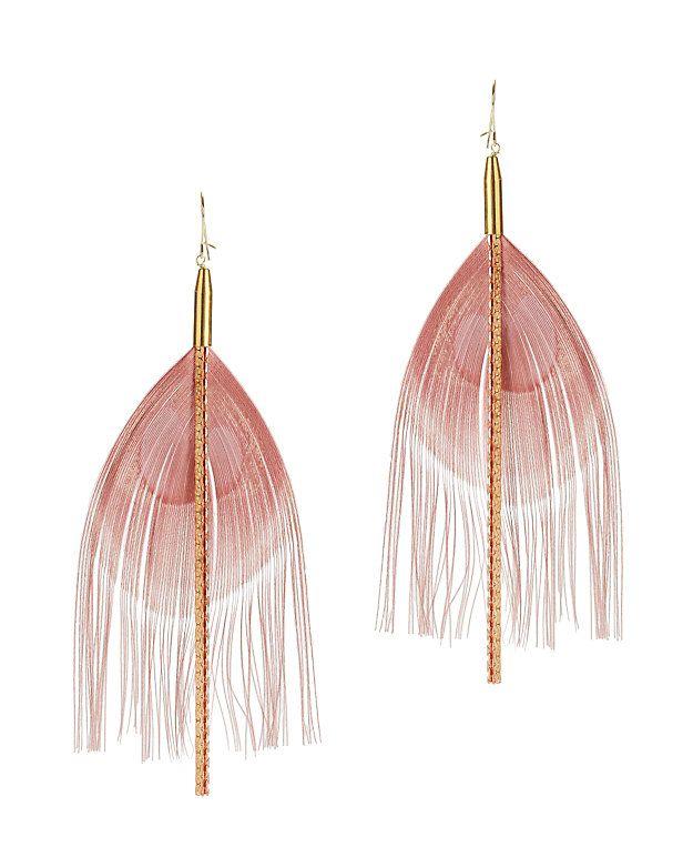 Serefina Feather Earrings Blush Intermix Feather Earrings Feather Jewelry 14k Gold Filled Jewelry