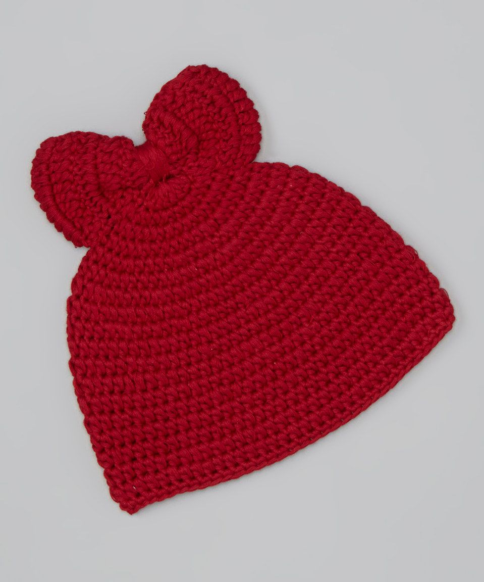 Look at this #zulilyfind! chéri by Bébé Oh La La Red Chunky Bow Crocheted Beanie by chéri by Bébé Oh La La #zulilyfinds