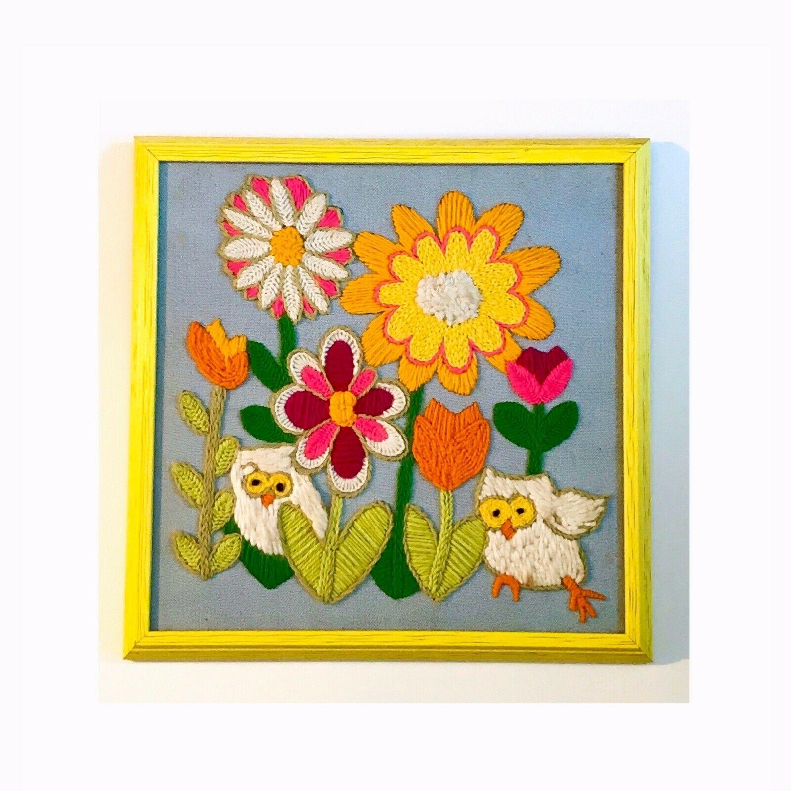 Vintage Crewel Mcm Yarn Embroidery Needlepoint Wall Art Framed Flower Owl 70s Ebay Embroidery Wall Art Burlap Wall Art Needlepoint