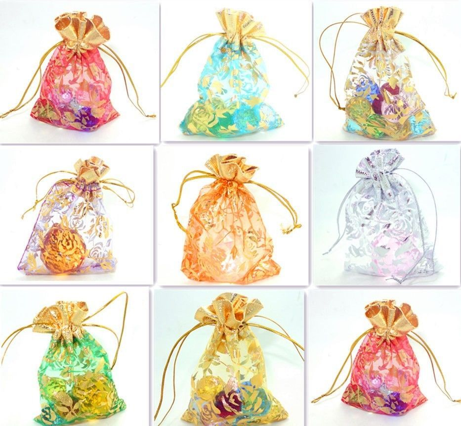 2.8''x3.6'' Flower Organza Wedding Party Favor Gift Candy Pouch Bags Multicolor