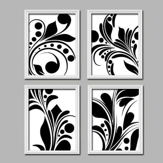 Bold swirl black white flourish design set of 4 abstract prints bedroom wall decor art