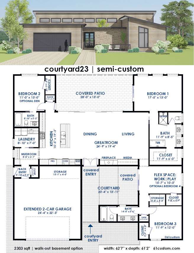 Courtyard23 Semi Custom Home Plan 61custom Contemporary Modern House Plans Courtyard House Plans Contemporary House Plans Custom Home Plans