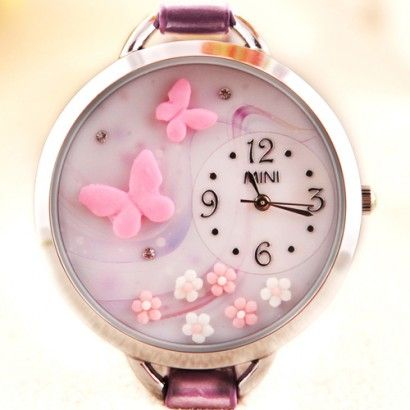 New Arrival Pink Butterfly Theme Leather Polymer Clay Novelty Watch