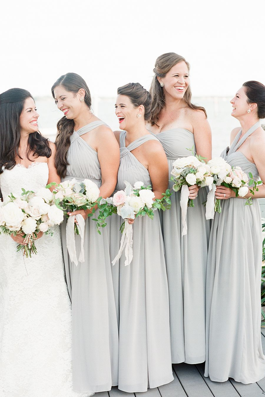 This is how a romantic nautical wedding is done grey bridesmaid soft gray bridesmaids dresses fall nautical montauk yacht club wedding ombrellifo Gallery