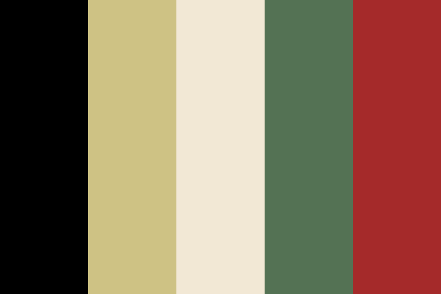 Wedding Black Gold Green Red Color Palette Created By Aislingtm That Consists 000000 Cec284 F2e8d Red Colour Palette Black Color Palette Red Color Pallets