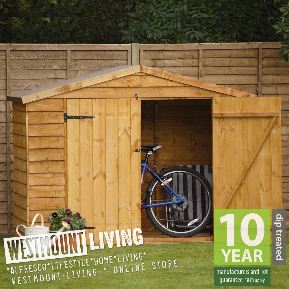 new 7x3ft 7 x 3 7x3 ft overlap timber bike shed wooden apex store wood storage - Garden Sheds 7 X 3