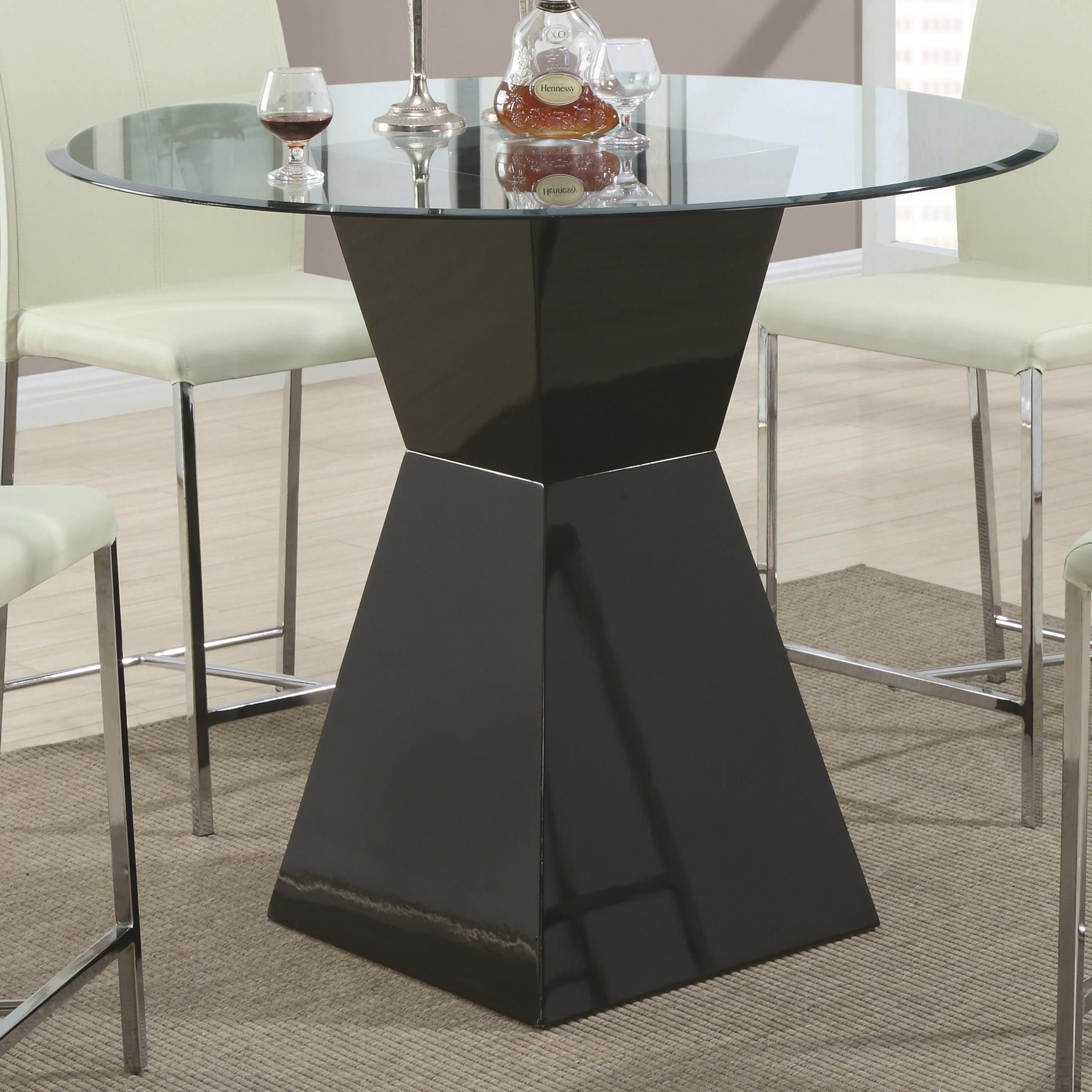 103736   Ophelia Contemporary Glass Top Pub Table With Black Base | *buy,  Sell