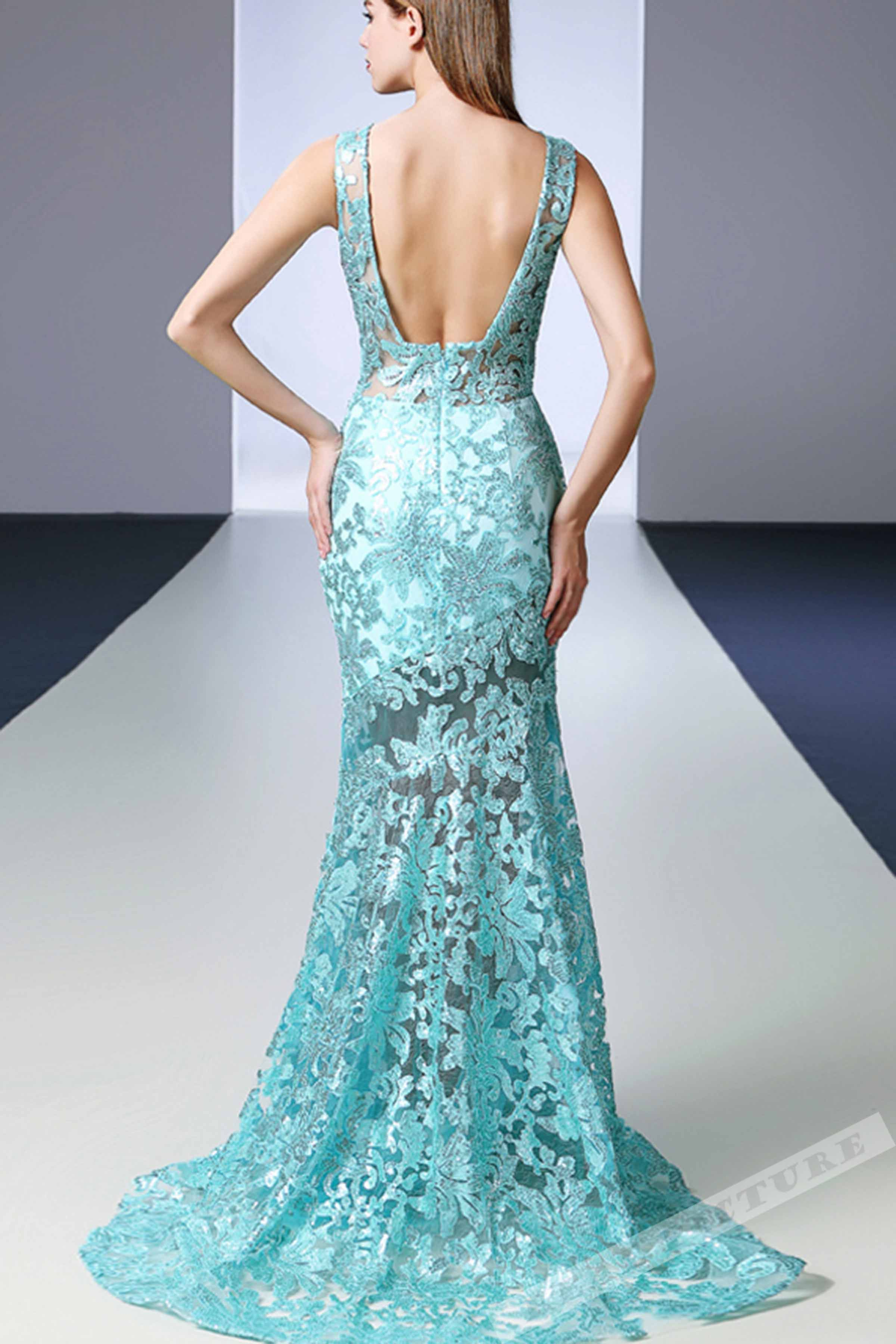 Light green lace prom dress, ball gown 2017