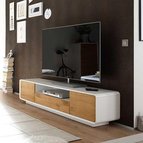 TV Unterschrank in Weiß mit Eiche furniert 170 cm breit Jetzt