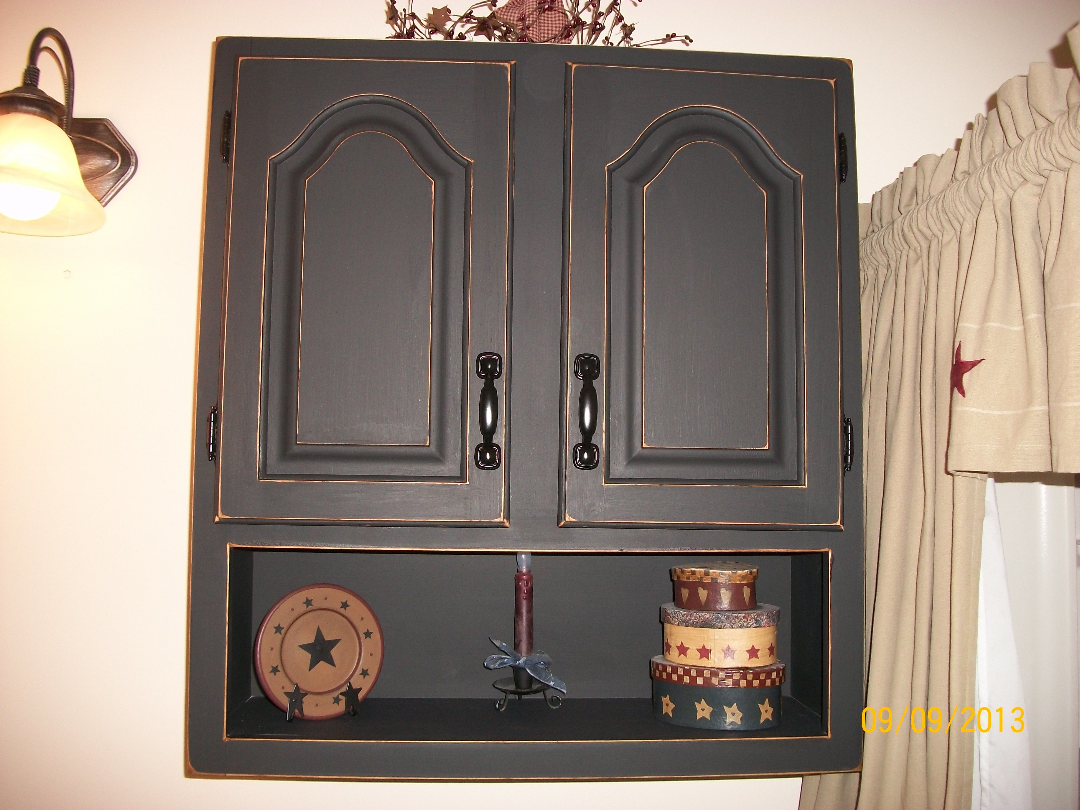 Finished Bathroom Wall Cabinet With Black Chalkboard Paint Then