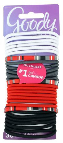 Goody Ouchless Elastics White Grey Black Red Stripes Elastic