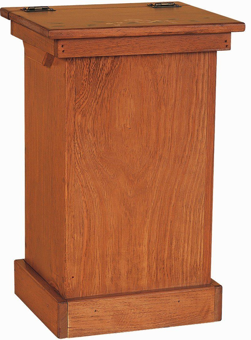 amish pine wood lift top trash bin cabinet wooden garbage can rh pinterest com Kitchen Trash Bins in Cabinet Wooden Kitchen Trash Can Cabinet