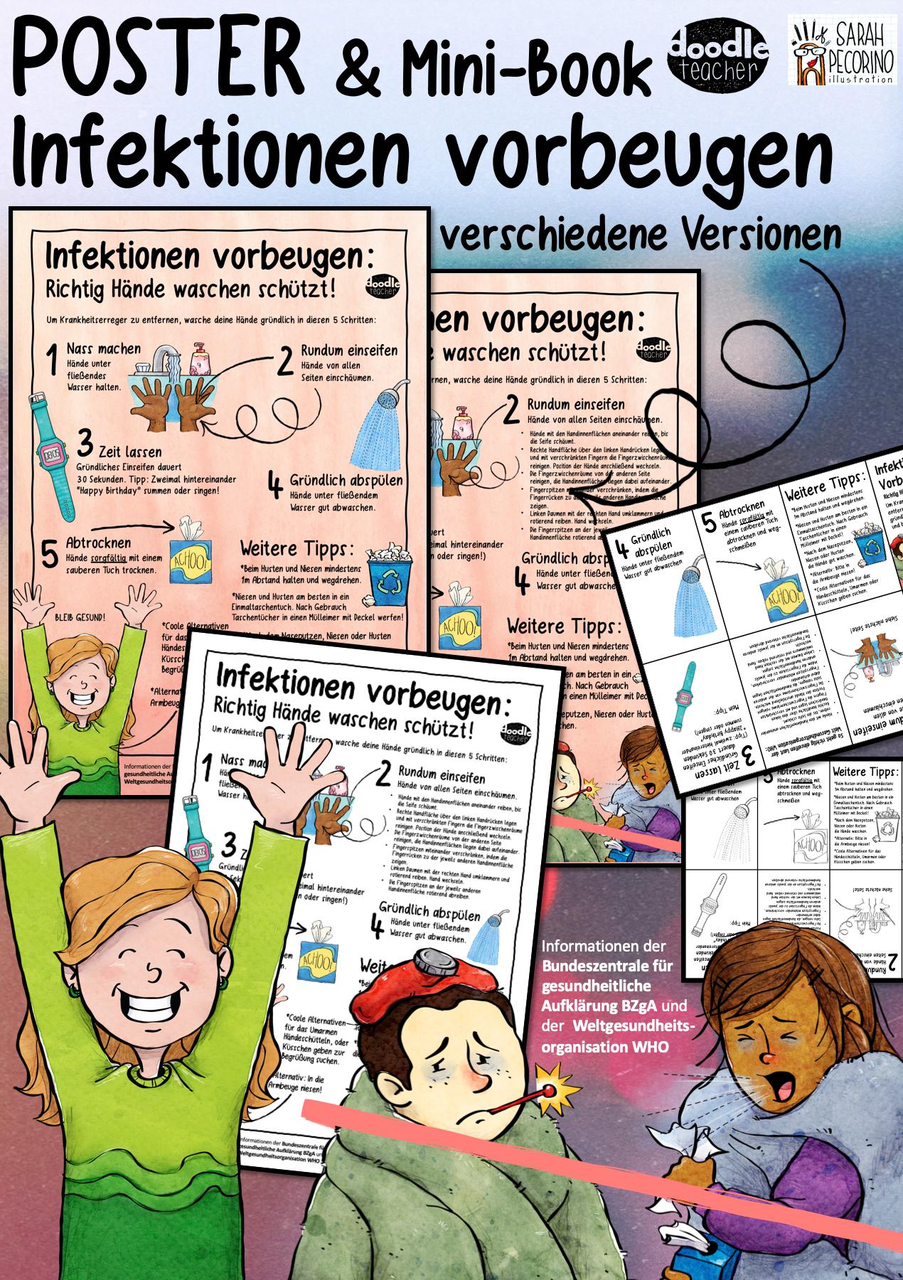 Infektionen Vorbeugen Hygiene Poster Und Mini Book Unterrichtsmaterial In Den Fachern Biologie Fachubergreifendes Kita Sachunterricht In 2020 Unterrichtsmaterial Erwachsenenbildung Poster