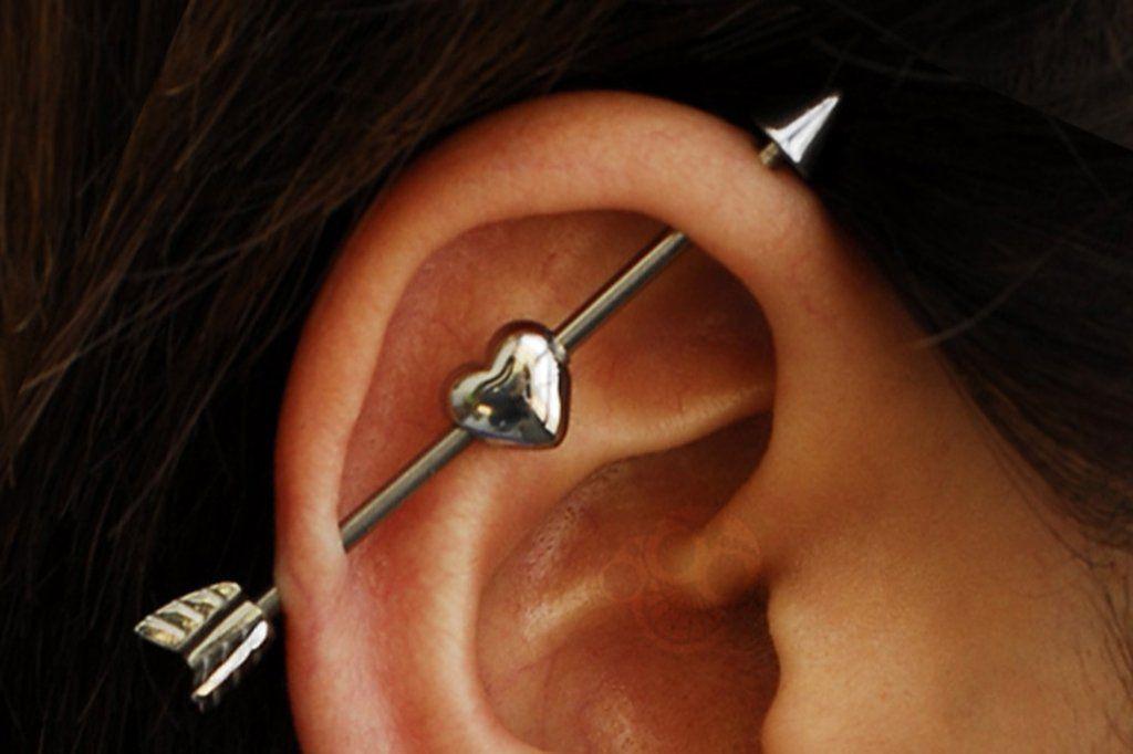 Qupid Heart Arrow Industrial Barbell Piercing Industrial