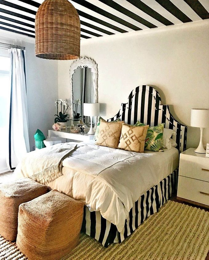 How to Paint a Black and White Striped Ceiling Striped