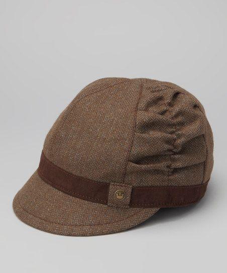 Brown Schoolcraft Wool-Blend Newsboy Hat