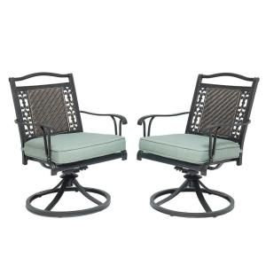 Martha Stewart Living Bellaire Swivel Rocker Patio Dining Chair 2 Pack Dyflo 009 R At The Home Depot Side Chairs Dining Patio Chairs Patio Dining Chairs